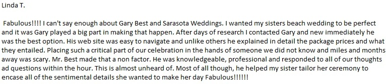 SarasotaWeddingIdeas.com Service Review & Testimonial