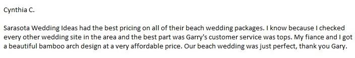 SarasotaWeddingIdeas.com; Affordable Beach Wedding Packages Review