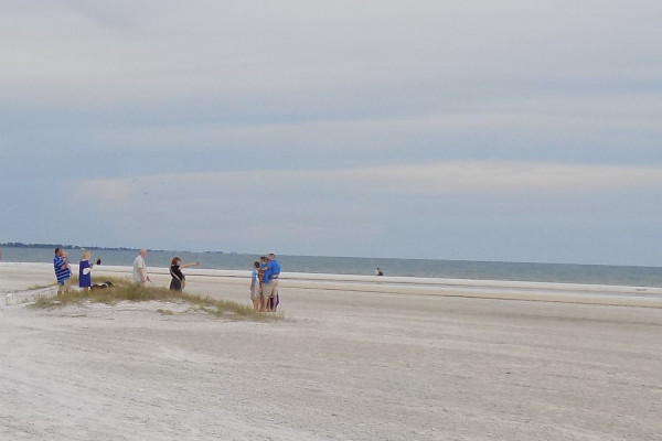 Secret Siesta key beach wedding spot. Pictured: Photographer taking photos of newlyweds and family.