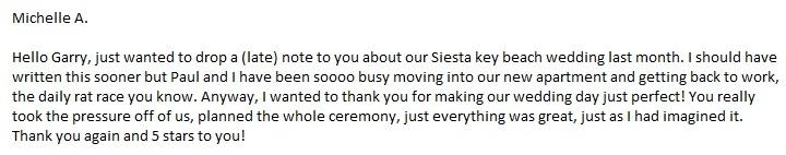 Vow Renewal Ceremony Review by SarasotaWeddingIdeas.com