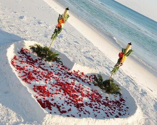 Rose Petal Heart Beach Weddings