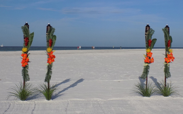 Tropical Tiki Beach Wedding Decorations - All Suncoast Fl. Beach Locations