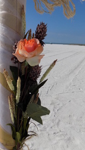 tropical-beach-weddings-coral-tropical-flower-arrangement-island-cast-away image